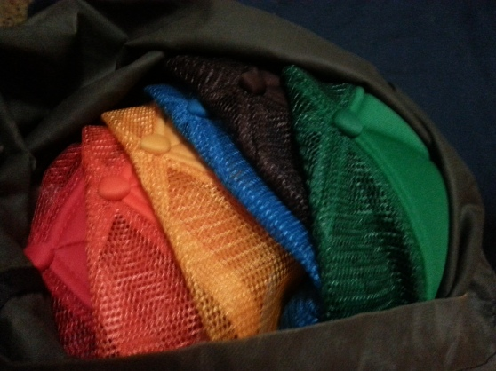What my pack looked like. Love the rainbow of hikertrash hats we have.