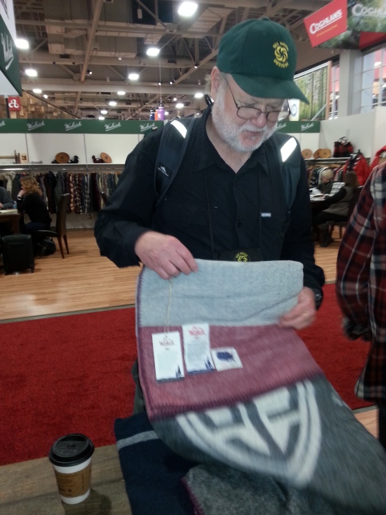 Here is Ron at the OR Show buying the triple crown of blankets by Wool