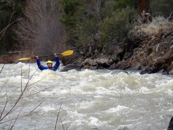 Last weekend we went packrafting. This is my patented don't swallow any of the cow-dung water move.