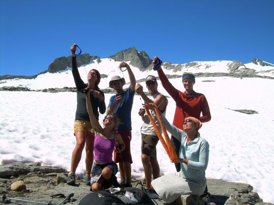 Before long we had a whole crew of hikers knitting. We started calling ourselves the High Alpine Knitting Club...here we are on Donohue Pass.