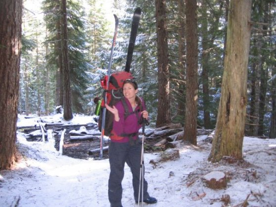 2010 was a low snow year...my pack was much heaver as we hiked half way into Tilly Jane hut on the east side of Mt. Hood.