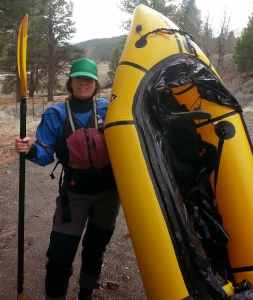 Ready to packraft the Chewaucan River outside Paisley in 2015