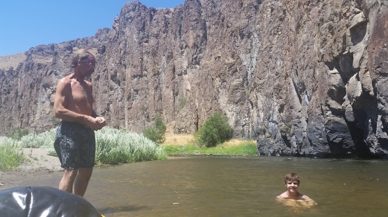 I floated past Ron and his grandson Gavin on my packraft trip in the Owyhee this July